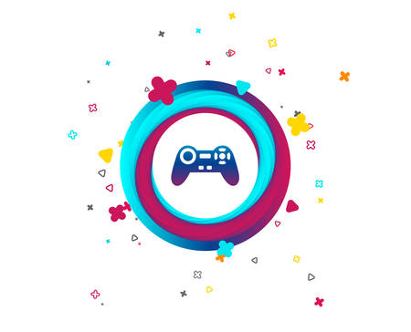 Joystick sign icon. Video game symbol. Colorful button with icon. Geometric elements. Game joystick vector Illustration