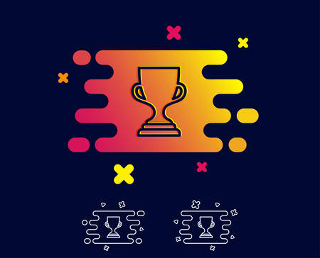Award cup line icon. Winner Trophy symbol. Sports achievement sign. Gradient banner with award trophy line icon. Abstract shape. Vector Illustration