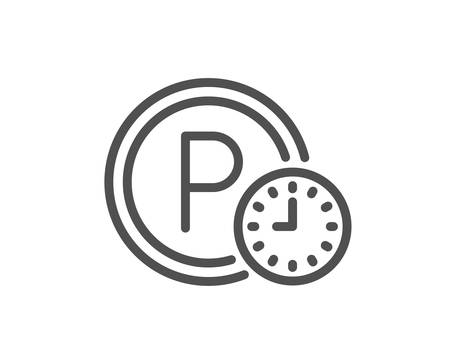 Parking time line icon. Car park clock sign. Transport place symbol. Quality design element. Classic style. Editable stroke. Vector