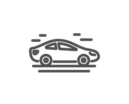 Car transport line icon. Transportation vehicle sign. Driving symbol. Quality design element. Classic style car transport. Editable stroke. Vector  イラスト・ベクター素材