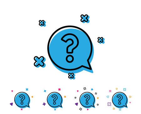 Question mark line icon. Help speech bubble sign. FAQ symbol. Line icon with geometric elements. Bright colourful question mark design. Vector Illustration