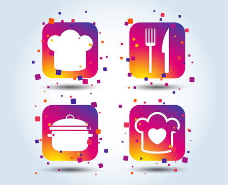 Chief hat and cooking pan icons. Fork and knife signs. Boil or stew food symbols. Colour gradient square buttons. Flat design concept. Vector