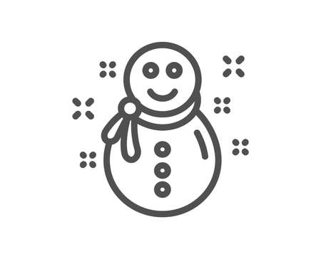 Christmas snowman line icon. New year sign. Winter holiday symbol. Quality design element. Classic style snowman. Editable stroke. Vector