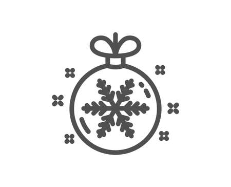 Christmas ball with snowflake line icon. New year tree decoration sign. Quality design element. Classic style christmas ball. Editable stroke. Vector 스톡 콘텐츠 - 110005742
