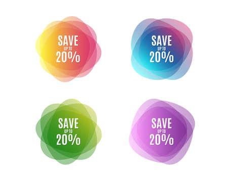 Sparen Sie bis zu 20%. Discount Sale Angebot Preisschild. Sonderangebotssymbol. Bunte runde Banner. Farben Formen. Rabatt bis zu 20% Konzept. Vektor