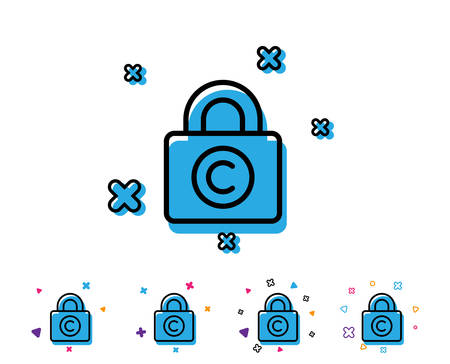 Copyright locker line icon. Copywriting sign. Private Information symbol. Line icon with geometric elements. Bright colourful design. Vector