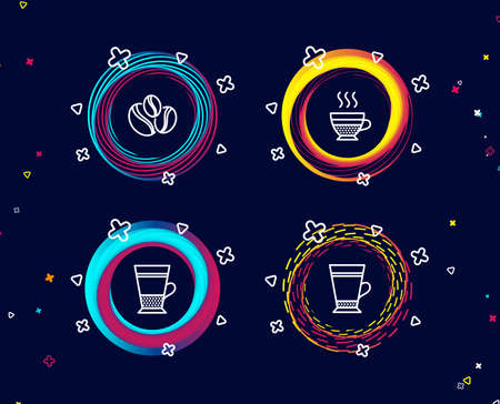 Set of Double latte, Coffee-berry beans and Cafe creme icons. Latte sign. Tea cup, Coffee beans, Hot coffee.  Circle banners with line icons. Gradient colors shapes. Vector Иллюстрация