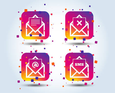 Mail envelope icons. Message document symbols. Post office letter signs. Delete mail and SMS message. Colour gradient square buttons. Flat design concept. Vector