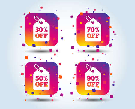Sale price tag icons. Discount special offer symbols. 30%, 50%, 70% and 90% percent off signs. Colour gradient square buttons. Flat design concept. Vector 版權商用圖片 - 110005761