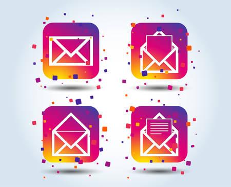 Icônes d'enveloppe de courrier. Symboles de document de message. Signes de lettre de bureau de poste. Boutons carrés dégradés de couleur. Concept de design plat. Vecteur