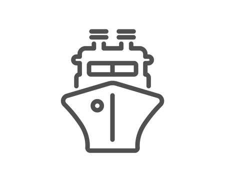 Ship line icon. Watercraft transport sign. Shipping symbol. Quality design element. Classic style ship. Editable stroke. Vector Ilustración de vector