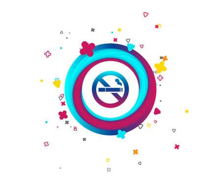 Icono de signo de no fumar. Símbolo de cigarrillo. Botón colorido con icono. Elementos geométricos. Vector Ilustración de vector