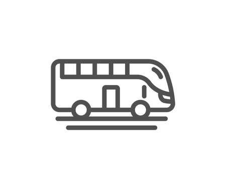 Bus tour transport line icon. Transportation sign. Tourism or public vehicle symbol. Quality design element. Classic style bus. Editable stroke. Vector