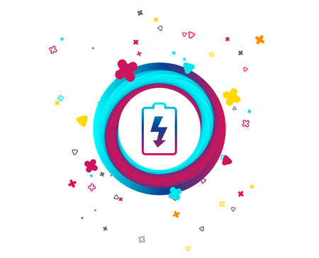 Battery charging sign icon. Lightning symbol. Colorful button with icon. Geometric elements. Vector