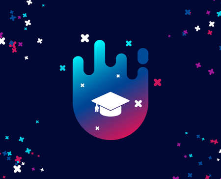 Graduation cap simple icon. Education sign. Student hat symbol. Cool banner with icon. Abstract shape with gradient. Vector Иллюстрация