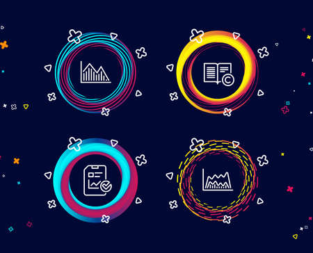 Set of Сopyright, Investment graph and Report checklist icons. Trade chart sign. Copywriting book, Investment infochart, Sales growth file. Market data.  Circle banners with line icons. Vector Illustration