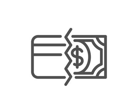 Credit card or cash line icon. Payment methods sign. Quality design element. Classic style credit card. Editable stroke. Vector