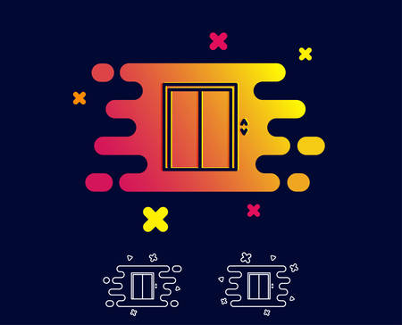 Lift line icon. Elevator sign. Transportation between floors symbol. Gradient banner with line icon. Abstract shape. Vector