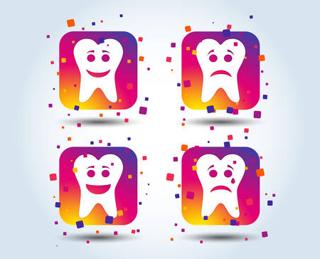 Tooth happy, sad and crying faces icons. Dental care signs. Healthy or unhealthy teeth symbols. Colour gradient square buttons. Flat design concept. Vector