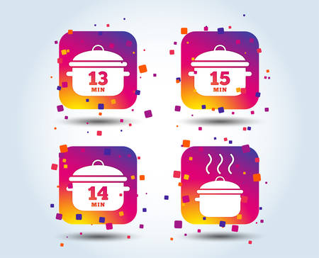 Cooking pan icons. Boil 13, 14 and 15 minutes signs. Stew food symbol. Colour gradient square buttons. Flat design concept. Vector