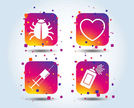 Bug and vaccine syringe injection icons. Heart and spray can sign symbols. Colour gradient square buttons. Flat design concept. Vector Illustration