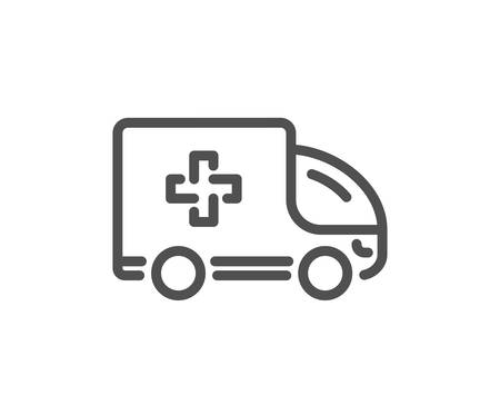 Ambulance emergency car line icon. Hospital transportation vehicle sign. Medical symbol. Quality design element. Classic style ambulance. Editable stroke. Vector