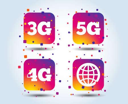 Icone di telecomunicazioni mobili. Simboli della tecnologia 3G, 4G e 5G. Segno del globo del mondo. Pulsanti quadrati sfumati di colore. Concetto di design piatto. Vettore Vettoriali