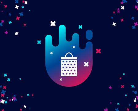 Shopping bag with circles simple icon. Present or Sale sign. Birthday Shopping symbol. Package in Gift Wrap. Cool banner with icon. Abstract shape with gradient. Vector Illustration