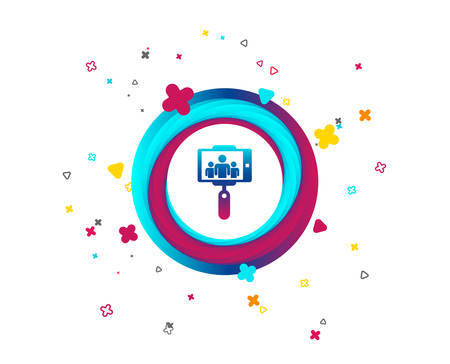 Monopod selfie stick icon. Self portrait with group of people. Colorful button with icon. Geometric elements. Vector