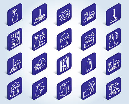 Cleaning line icons. Laundry, Sponge and Vacuum cleaner signs. Washing machine, Housekeeping service and Maid equipment symbols. Window cleaning and Wipe off. Flat design isometric buttons. Vector