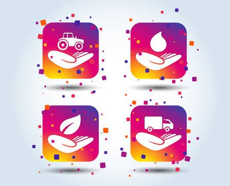 Helping hands icons. Agricultural tractor insurance symbol. Delivery truck sign. Save nature leaf and water drop. Colour gradient square buttons. Flat design concept. Vector