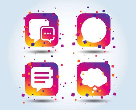 Chat icons. Comic speech bubble signs. Communication think symbol. Colour gradient square buttons. Flat design concept. Vector