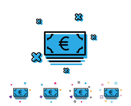 Cash money line icon. Banking currency sign. Euro or EUR symbol. Line icon with geometric elements. Bright colourful design. Vector