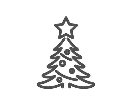 Christmas tree present line icon. New year spruce sign. Fir-tree symbol. Quality design element. Classic style christmas tree. Editable stroke. Vector 스톡 콘텐츠 - 110005797
