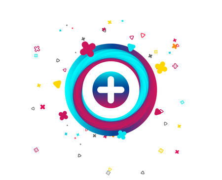 Plus sign icon. Positive symbol. Zoom in. Colorful button with icon. Geometric elements. Vector Stock Illustratie