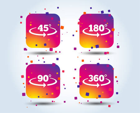 Angle 45-360 degrees icons. Geometry math signs symbols. Full complete rotation arrow. Colour gradient square buttons. Flat design concept. Vector Фото со стока - 110005803