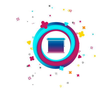 Louvers rolls sign icon. Window blinds or jalousie symbol. Colorful button with icon. Geometric elements. Vector Иллюстрация
