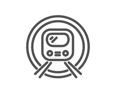 Metro subway transport line icon. Public underground transportation sign. Quality design element. Classic style subway. Editable stroke. Vector  イラスト・ベクター素材