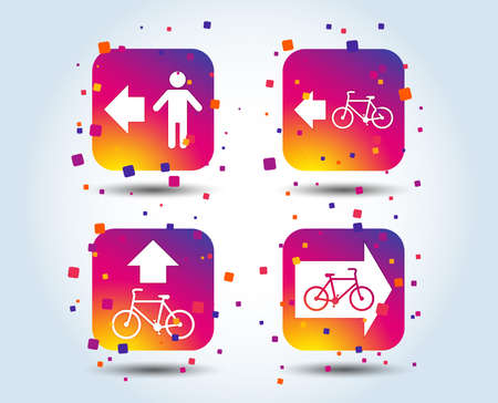 Pedestrian road icon. Bicycle path trail sign. Cycle path. Arrow symbol. Colour gradient square buttons. Flat design concept. Vector