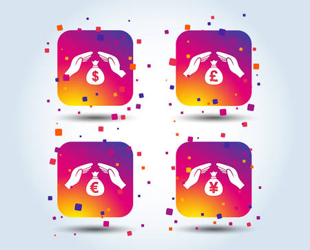 Hands insurance icons. Money bag savings insurance symbols. Hands protect cash. Currency in dollars, yen, pounds and euro signs. Colour gradient square buttons. Flat design concept. Vector 向量圖像