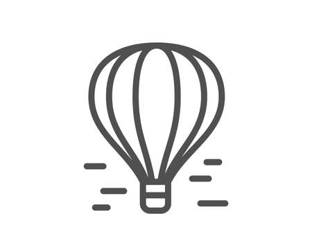 Air balloon line icon. Flight transport with basket sign. Aircraft symbol. Quality design element. Classic style air balloon. Editable stroke. Vector