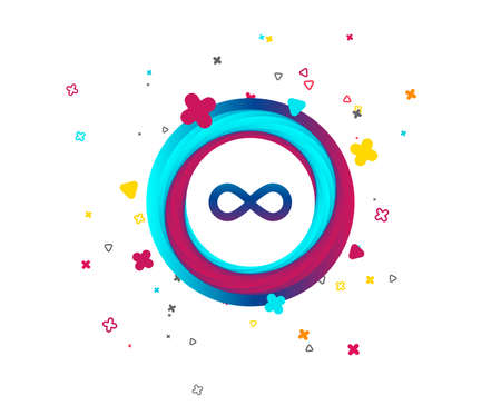 Limitless sign icon. Infinity symbol. Colorful button with icon. Geometric elements. Vector