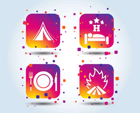 Food, sleep, camping tent and fire icons. Knife, fork and dish. Hotel or bed and breakfast. Road signs. Colour gradient square buttons. Flat design concept. Vector Illustration