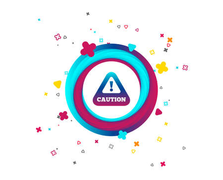 Attention caution sign icon. Exclamation mark. Hazard warning symbol. Colorful button with icon. Geometric elements. Vector Иллюстрация
