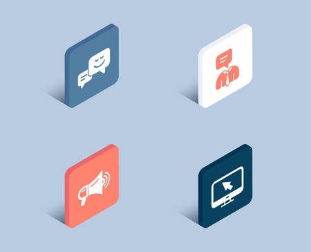 Set of Support service, Megaphone and Happy emotion icons. Internet sign. Human talking, Advertisement, Web chat. Monitor with cursor.  3d isometric buttons. Flat design concept. Vector Ilustração