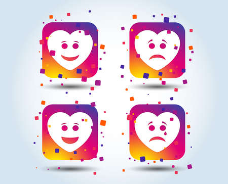 Heart smile face icons. Happy, sad, cry signs. Happy smiley chat symbol. Sadness depression and crying signs. Colour gradient square buttons. Flat design concept. Vector Illusztráció