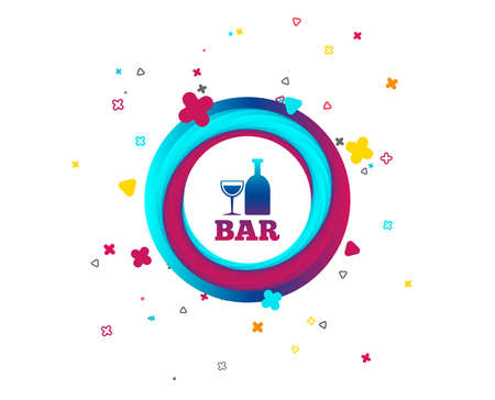 Bar or Pub sign icon. Wine bottle and Glass symbol. Alcohol drink symbol. Colorful button with icon. Geometric elements. Vector Çizim