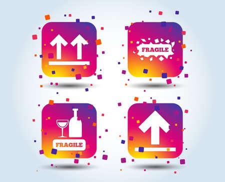 Zerbrechliche Symbole. Empfindliche Paketzustellungszeichen. Diese Seite mit Pfeilen nach oben. Quadratische Schaltflächen mit Farbverlauf. Flaches Designkonzept. Vektor Vektorgrafik
