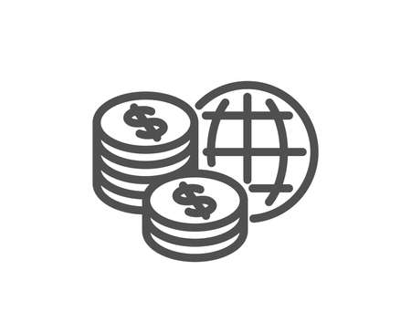 World money line icon. Global markets sign. Internet payments symbol. Quality design element. Classic style. Editable stroke. Vector Illustration