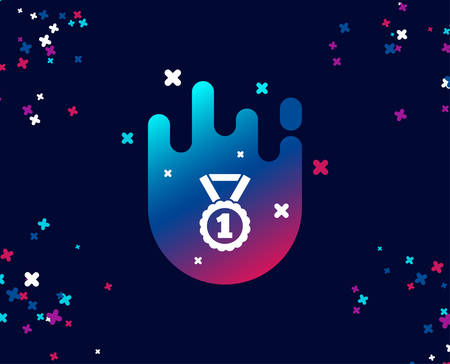 Reward Medal simple icon. Winner achievement or Award symbol. Glory or Honor sign. Cool banner with icon. Abstract shape with gradient. Vector